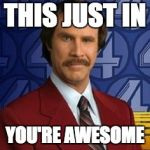 Ron Burgundy | THIS JUST IN YOU'RE AWESOME | image tagged in ron burgundy | made w/ Imgflip meme maker