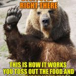 Park greeter | STOP, STOP RIGHT THERE THIS IS HOW IT WORKS YOU TOSS OUT THE FOOD AND I DON'T SLASH YOUR TIRES | image tagged in hello bear,memes | made w/ Imgflip meme maker