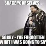 Brace yourselves - Sorry | BRACE YOURSELVES... SORRY - I'VE FORGOTTEN WHAT I WAS GOING TO SAY | image tagged in brace yourselves | made w/ Imgflip meme maker