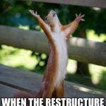 amen squirrel | THAT MOMENT WHEN THE RESTRUCTURE GOES LIVE | image tagged in amen squirrel | made w/ Imgflip meme maker