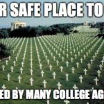 American graveyards in Normandy | YOUR SAFE PLACE TO CRY PROVIDED BY MANY COLLEGE AGED KIDS | image tagged in american graveyards in normandy | made w/ Imgflip meme maker