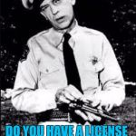 Barney fife | NOW MISS, MY NAME IS BARNEY FIFE AND I AM A LAW ENFORCEMENT OFFICER DO YOU HAVE A LICENSE FOR THAT POODLE? | image tagged in barney fife | made w/ Imgflip meme maker