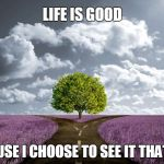 Join us. | LIFE IS GOOD BECAUSE I CHOOSE TO SEE IT THAT WAY | image tagged in life goals,life alert,choose wisely,the light side is the right side,stay away,dark side | made w/ Imgflip meme maker