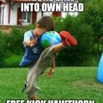 fail | KICKS BALL INTO OWN HEAD FREE KICK HAWTHORN | image tagged in fail | made w/ Imgflip meme maker