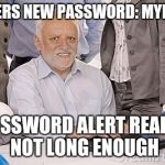 Security Measures | ENTERS NEW PASSWORD: MYDICK PASSWORD ALERT READS: NOT LONG ENOUGH | image tagged in harold's extreme internal pain | made w/ Imgflip meme maker