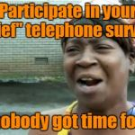 "I really don't think that word means what they think it means | Participate in your ""brief"" telephone survey? Ain't nobody got time for that! 