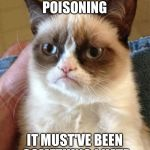 Grumpy Cat Meme | I'VE GOT MOOD POISONING IT MUST'VE BEEN SOMETHING I HATE | image tagged in memes,grumpy cat | made w/ Imgflip meme maker