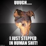Depression Dog Meme | UUUGH...... I JUST STEPPED IN HUMAN SHIT! | image tagged in memes,depression dog | made w/ Imgflip meme maker