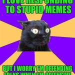 Social Anxiety Cat | I LOVE RESPONDING TO STUPID MEMES BUT I WORRY I'M OFFENDING FOLKS WHEN I'M OFFENSIVE. | image tagged in social anxiety cat | made w/ Imgflip meme maker