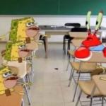 classroom confused krabs and cavebob meme