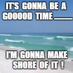 Navarre Beach  | IT'S  GONNA  BE  A  GOOOOD  TIME ........... I'M  GONNA  MAKE  SHORE  OF  IT  ! | image tagged in navarre beach | made w/ Imgflip meme maker