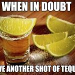 Tequila | WHEN IN DOUBT HAVE ANOTHER SHOT OF TEQUILA | image tagged in tequila | made w/ Imgflip meme maker