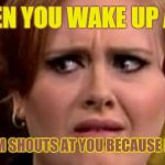 Was meant to wake up at 09:00 | WHEN YOU WAKE UP AND YOUR MUM SHOUTS AT YOU BECAUSE IT'S 08:59 | image tagged in no really adele | made w/ Imgflip meme maker