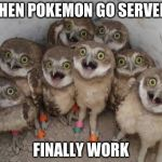 Excited Owls | WHEN POKEMON GO SERVERS FINALLY WORK | image tagged in excited owls | made w/ Imgflip meme maker