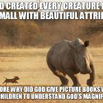 animals | GOD CREATED EVERY CREATURE BIG AND SMALL WITH BEAUTIFUL ATTRIBUTES. EXPLORE WHY DID GOD GIVE PICTURE BOOKS WITH YOUR CHILDREN TO UNDERSTAND  | image tagged in animals | made w/ Imgflip meme maker