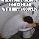 Drunk puking toilet | WHEN YOUR FACEBOOK FEED IS FILLED WITH HAPPY COUPLES | image tagged in drunk puking toilet | made w/ Imgflip meme maker