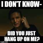 Liam Neeson Taken Meme | I DON'T KNOW- DID YOU JUST HANG UP ON ME? | image tagged in memes,liam neeson taken | made w/ Imgflip meme maker