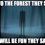 Slenderman | GO TO THE FOREST THEY SAID IT WILL BE FUN THEY SAID | image tagged in slenderman | made w/ Imgflip meme maker