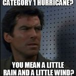 Hurricane schmuricane | CATEGORY 1 HURRICANE? YOU MEAN A LITTLE RAIN AND A LITTLE WIND? | image tagged in memes,bothered bond,hurricane hermine,hurricane,weak,just a little rain | made w/ Imgflip meme maker