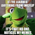Condescending Meme War Champion Kermit | IF I'VE LEARNED ANYTHING FROM IMGFLIP IT'S THAT NO ONE NOTICES MY MEMES | image tagged in condescending meme war champion kermit | made w/ Imgflip meme maker