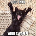 Happy cat  | I GOT INTO YOUR CWOFFEE | image tagged in happy cat | made w/ Imgflip meme maker