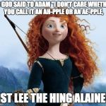 "Merida Brave Meme | AS GOD SAID TO ADAM ""I DON'T CARE WHETHER YOU CALL IT AN AH-PPLE OR AN AE-PPLE, JIST LEE THE HING ALAINE!"" 