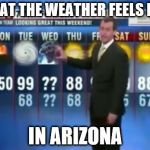 Godzilla Wednesday | WHAT THE WEATHER FEELS LIKE IN ARIZONA | image tagged in godzilla wednesday | made w/ Imgflip meme maker