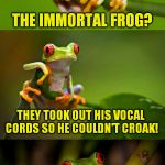 Frog Puns | DID YOU HEAR ABOUT THE IMMORTAL FROG? THEY TOOK OUT HIS VOCAL CORDS SO HE COULDN'T CROAK! | image tagged in frog puns,funny meme,frogs,jokes,immortal,laughs | made w/ Imgflip meme maker