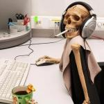 Hyped-up Skeleton at Desk meme