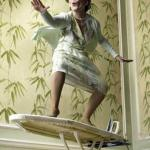 Surfing ironing board lady meme