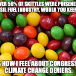 CLIMATE CHOICE 2016 - Sign our petition at change.org | IF OVER 56% OF SKITTLES WERE POISENED BY THE FOSSIL FUEL INDUSTRY, WOULD YOU KEEP THEM? THAT'S HOW I FEEL ABOUT CONGRESSIONAL CLIMATE CHANGE | image tagged in skittles,memes,climate change,climate choice 2016,politics | made w/ Imgflip meme maker