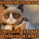 You don't dress up Grumpy Cat! | SHOULD HAVE DRESSED ME AS DEATH SINCE HE'S GOING TO BE HANGING AROUND YOU ANY MINUTE | image tagged in memes,grumpy cat halloween,grumpy cat | made w/ Imgflip meme maker