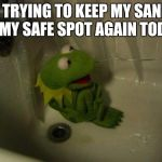 Depressed Kermit | ME TRYING TO KEEP MY SANITY IN MY SAFE SPOT AGAIN TODAY | image tagged in depressed kermit | made w/ Imgflip meme maker