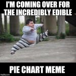 Fat kid jump kick | I'M COMING OVER FOR THE INCREDIBLY EDIBLE PIE CHART MEME | image tagged in fat kid jump kick | made w/ Imgflip meme maker