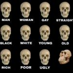 man woman gay straight skull meme