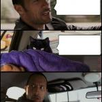 The Rock Driving Evil Cat meme