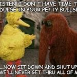 Big Bird And Snuffy Meme | LISTEN! I DON'T HAVE TIME TO INDULGE IN YOUR PETTY BULLSHIT ...NOW SIT DOWN AND SHUT UP OR WE'LL NEVER GET THRU ALL OF MINE | image tagged in memes,big bird and snuffy | made w/ Imgflip meme maker