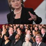 hillary laughing crowd meme