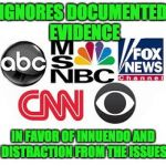 Media Lies | IGNORES DOCUMENTED EVIDENCE IN FAVOR OF INNUENDO AND DISTRACTION FROM THE ISSUES | image tagged in media lies | made w/ Imgflip meme maker