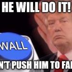 Trump wall button  | HE WILL DO IT! DON'T PUSH HIM TO FAR :C | image tagged in trump wall button | made w/ Imgflip meme maker