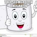 Happy Toilet Paper | THEY SEE ME ROLLIN THEY HATIN | image tagged in happy toilet paper | made w/ Imgflip meme maker