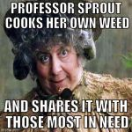 Sprout Weed | PROFESSOR SPROUT COOKS HER OWN WEED AND SHARES IT WITH THOSE MOST IN NEED | image tagged in sprout,weed,hufflepuff | made w/ Imgflip meme maker