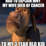 sad donkey | HAD TO EXPLAIN WHY MY WIFE DIED OF CANCER TO MY 3 YEAR OLD KID | image tagged in sad donkey | made w/ Imgflip meme maker