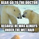 Polar bear finding neverland | WHY DID THE POLAR BEAR GO TO THE DOCTOR BECAUSE HE WAS ALWAYS UNDER THE WET HAIR | image tagged in polar bear finding neverland | made w/ Imgflip meme maker