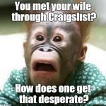 Shocked Monkey | You met your wife through Craigslist? How does one get that desperate? | image tagged in shocked monkey,funny meme,craigslist | made w/ Imgflip meme maker
