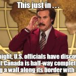 It's a borderline call. | This just in . . . Overnight, U.S. officials have discovered that Canada is half-way complete to building a wall along its border with the U | image tagged in this just in | made w/ Imgflip meme maker