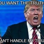 angry trump | YOU WANT THE TRUTH ? YOU CAN'T HANDLE MY TRIUMPH !! | image tagged in angry trump | made w/ Imgflip meme maker