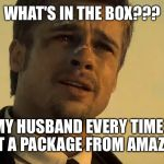 BRAD PITT SE7EN | WHAT'S IN THE BOX??? MY HUSBAND EVERY TIME I GET A PACKAGE FROM AMAZON. | image tagged in brad pitt se7en | made w/ Imgflip meme maker