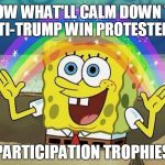 If they even voted... | KNOW WHAT'LL CALM DOWN THE ANTI-TRUMP WIN PROTESTERS? PARTICIPATION TROPHIES | image tagged in rainbow spongebob,political meme | made w/ Imgflip meme maker