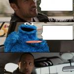 The Rock Driving Cookie Monster meme